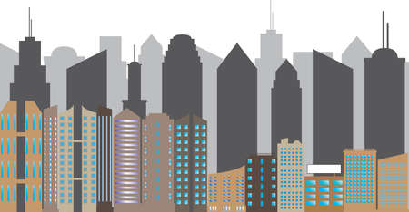 live work city: City silhouette concept illustrated on white