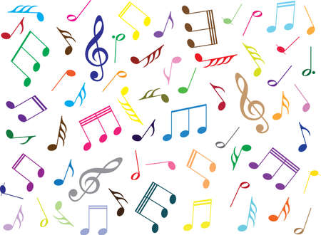 coloured: Coloured music notes on white background Illustration