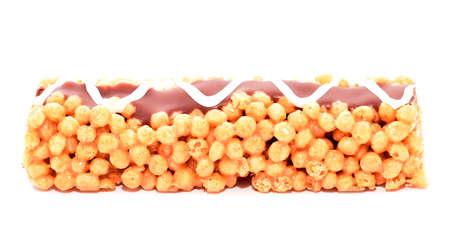 energy bar: Energy bar with chocolate glaze isolated on white