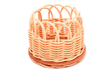 Wood basket isolated on white background Stock Photo