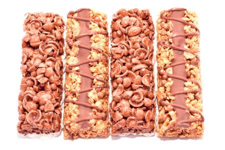healthful: Cereal bars with chocolate isolated on white background