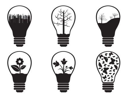 Light bulbs illustrated on white background Ilustrace