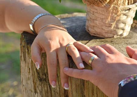 Wedding couple holding hands Reklamní fotografie