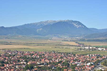 Beautiful mountain landscape over city