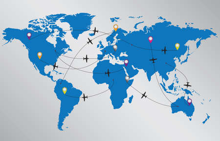 World map with planes illustrated on gray background.