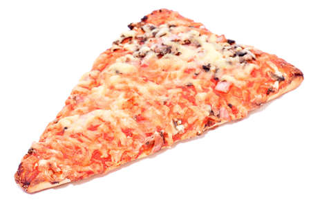 Slice of pizza with mushrooms and cheese isolated on white