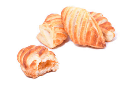 Cookies with apricot filling isolated on white