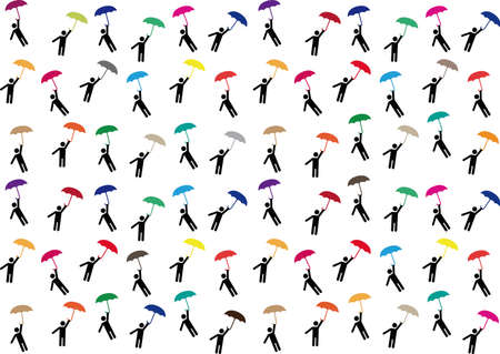 Pictogram people flying with umbrellas illustrated on white