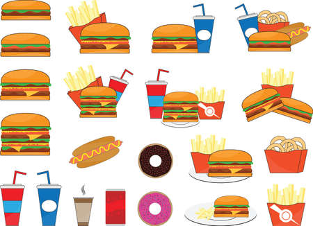 Big collection of fast food and sweets illustrated on white
