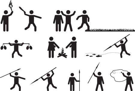 Set of primitive pictogram people activities on white background