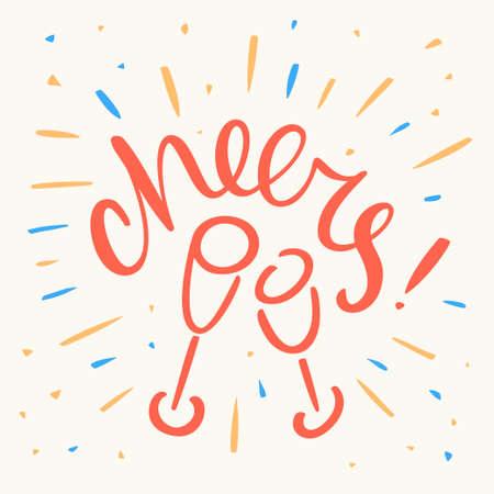Cheers! Greeting card. Иллюстрация