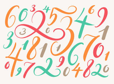 numbers background: Handwritten numbers. Background with hand drawn numbers. Illustration