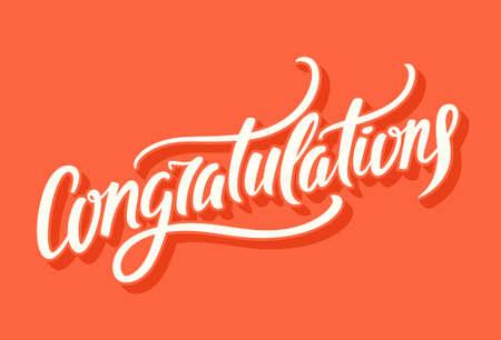 congratulations: Felicidades. Letras de la mano.