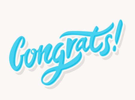 felicitaciones: tarjeta de felicitaci�n de felicitaciones. letras de la mano. Ilustraci�n del vector.