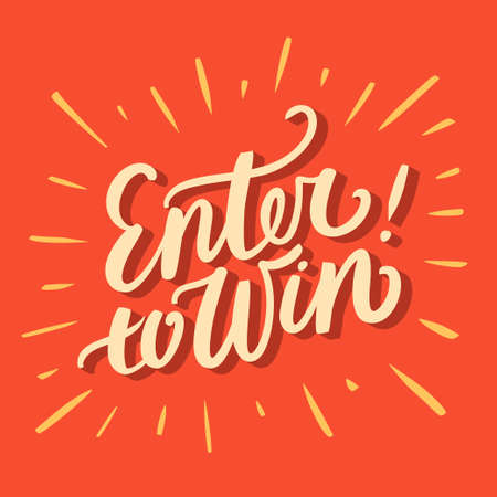Enter to win. Hand lettering. Vector hand drawn illustration. 向量圖像