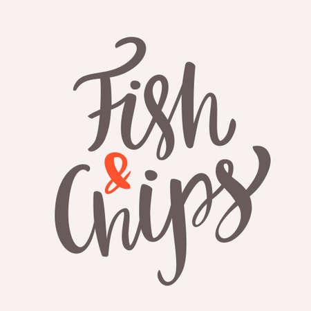 pescado frito: Pescado y papas fritas. letras de la mano. vector dibujado a mano ilustración.
