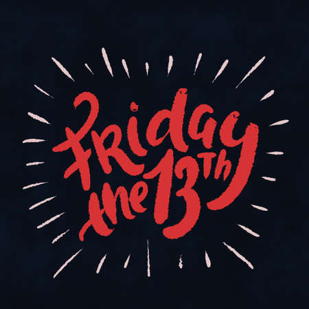 Friday the 13th. Hand lettering. Vector hand drawn illustration.  イラスト・ベクター素材