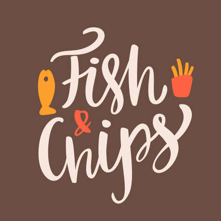fish and chips: Pescado y papas fritas. letras de la mano. vector dibujado a mano ilustración.