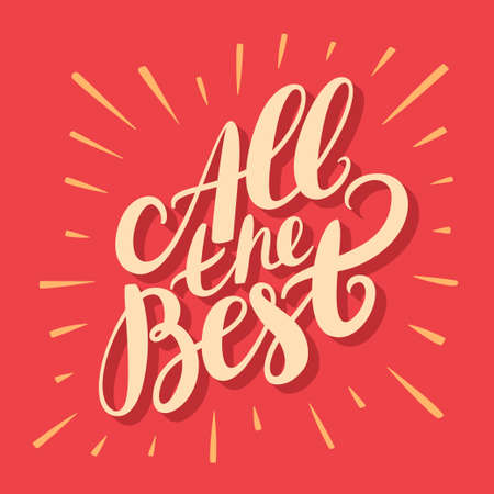 All the best. Greeting card. Hand lettering. Vector hand drawn illustration.