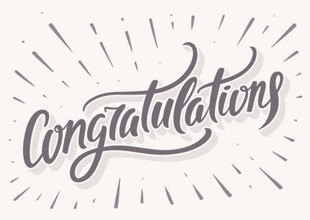 congratulations word: Congratulations card. Hand lettering. Vector hand drawn illustration.