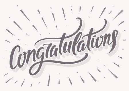 Congratulations card. Hand lettering. Vector hand drawn illustration.
