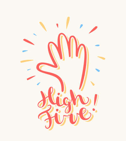 high five: High five. Greeting card.