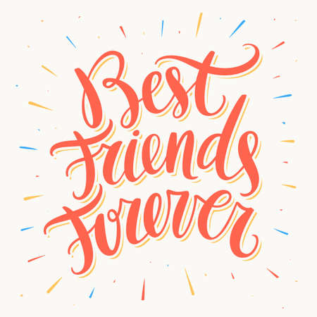 Best Friends Forever. Hand lettering. Vector hand drawn illustration.  イラスト・ベクター素材