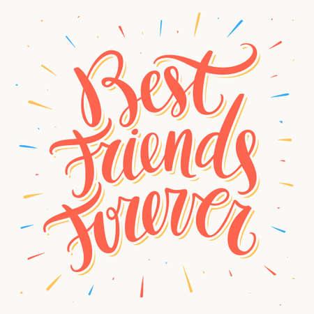 bff: Best Friends Forever. Hand lettering. Vector hand drawn illustration. Illustration