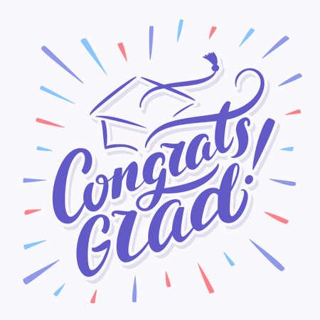 congrats: Congratulations Graduate banner. Hand lettering. Vector hand drawn illustration.
