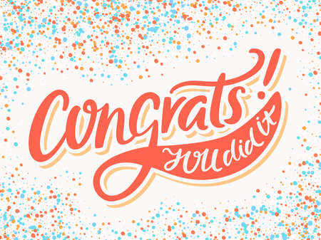 felicitaciones: tarjeta de felicitación. letras de la mano. vector dibujado a mano ilustración.