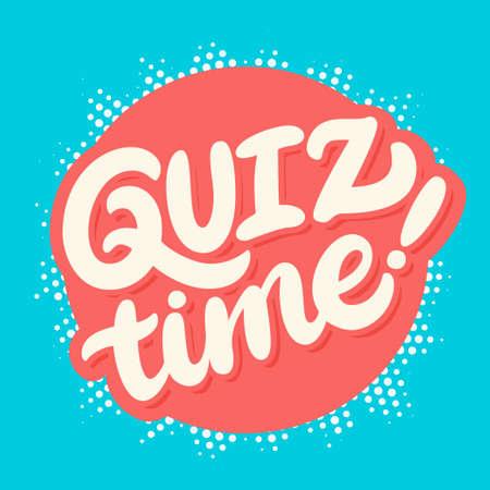 Quiz Zeit Banner. Handbeschriftung. Vektor Hand gezeichnet Illustration. Standard-Bild - 76441720
