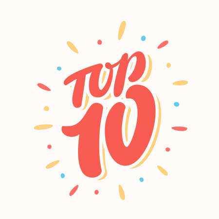 Top 10. Hand lettering. Vector hand drawn illustration.