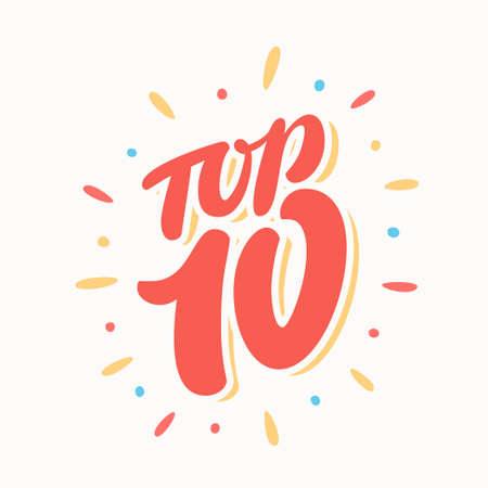 Top 10. Letra de la mano. Vector ilustración dibujada a mano. Foto de archivo - 78977720