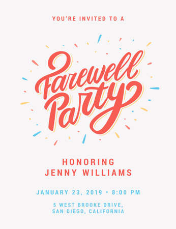 Farewell party invitation. Vector hand drawn illustration. Stock Illustratie