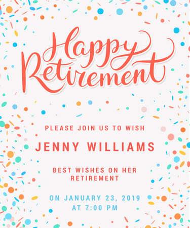 Gelukkig pensioen. Feest uitnodiging. Vector Illustratie