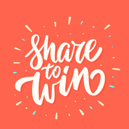 Share to win. Vector hand drawn illustration. Ilustração