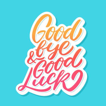 Auf Wiedersehen und viel Glück. Abschiedskarte. Standard-Bild