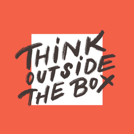 Think outside the box. Vector lettering. Vector hand drawn illustration. Banco de Imagens - 111919454
