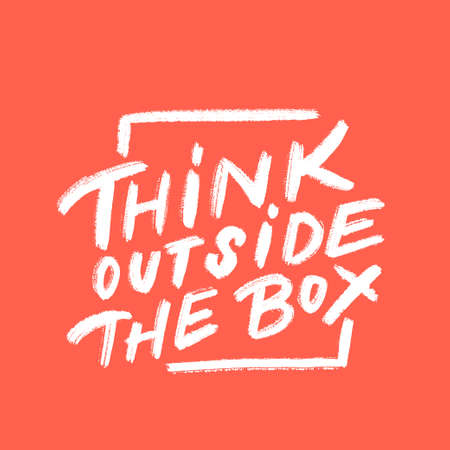 Think outside the box. Vector lettering. Vector hand drawn illustration.