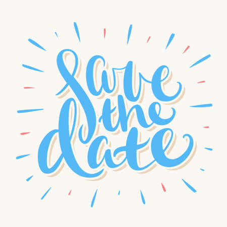 Save the date. Vector lettering. Vector hand drawn illustration. Banco de Imagens - 111484985