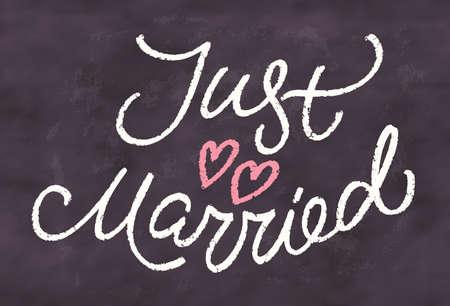 Just married. Chalkboard sign. Vector hand drawn illustration. Ilustración de vector