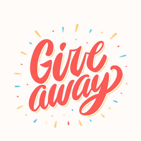 Giveaway banner. Hand lettering. Vector hand drawn illustration.