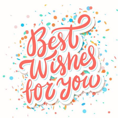 Mejores deseos para usted. Tarjeta de felicitación. Letras vectoriales. Vector ilustración dibujada a mano. Ilustración de vector