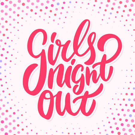 Girls night out. Bachelorette party vector banner. Vector hand drawn illustration.