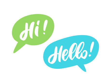 Hello and Hi. Words in speech bubbles. Vector hand drawn illustration.