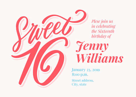 Sweet 16. Hand lettering. Vector hand drawn illustration.