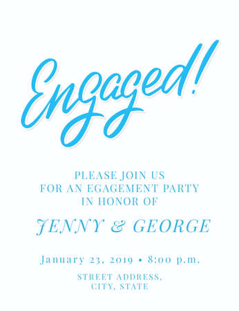 Engagement party invitation template. Vector hand drawn illustration.