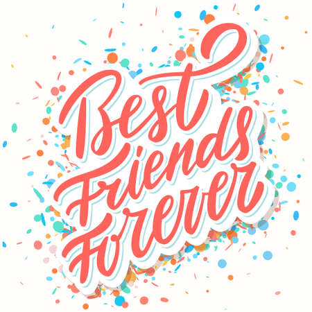 Best Friends Forever. Hand lettering. Vector hand drawn illustration. Ilustração
