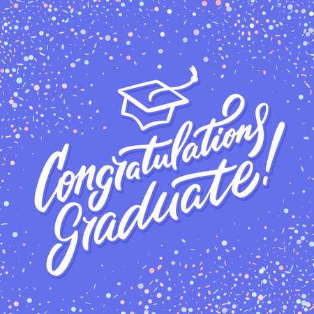 Congratulations graduate banner. Hand lettering. Vector hand drawn illustration. Иллюстрация