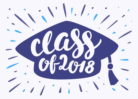 Class of 2018. Graduation banner. Vector hand drawn illustration.